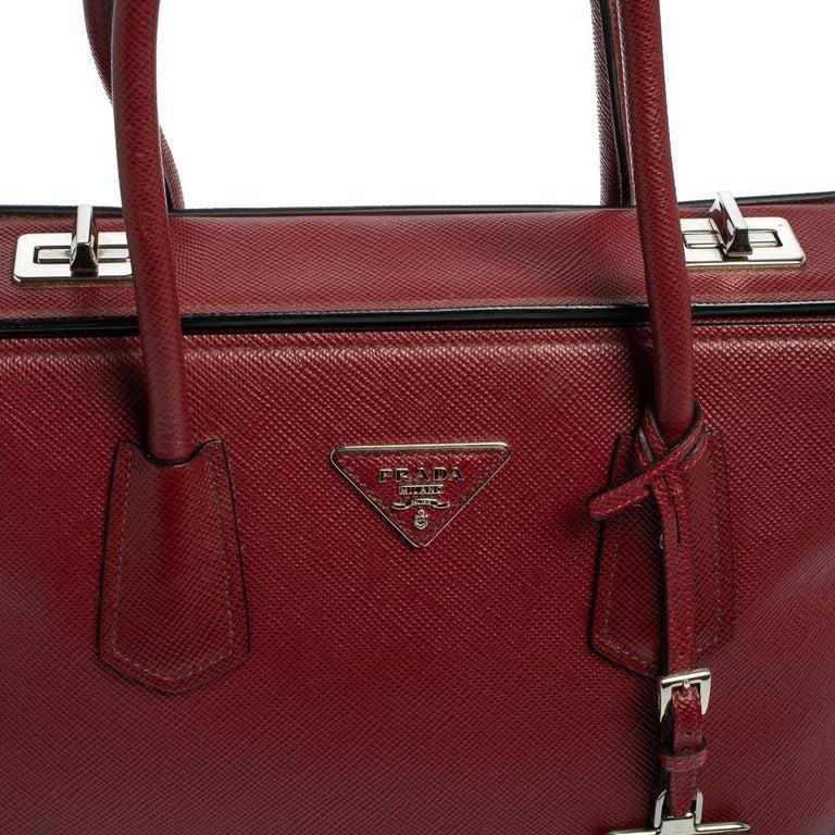 Prada Dark Red Saffiano Cuir Leather Twin Tote For Sale 6