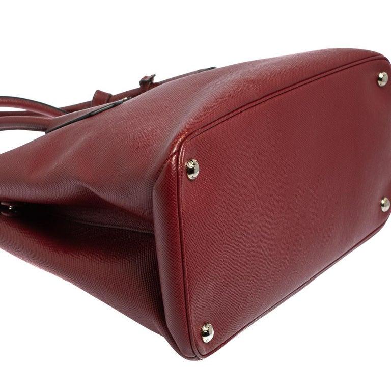 Prada Dark Red Saffiano Cuir Leather Twin Tote For Sale 7