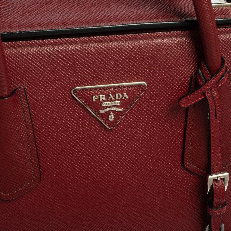 Prada Dark Red Saffiano Cuir Leather Twin Tote For Sale 8