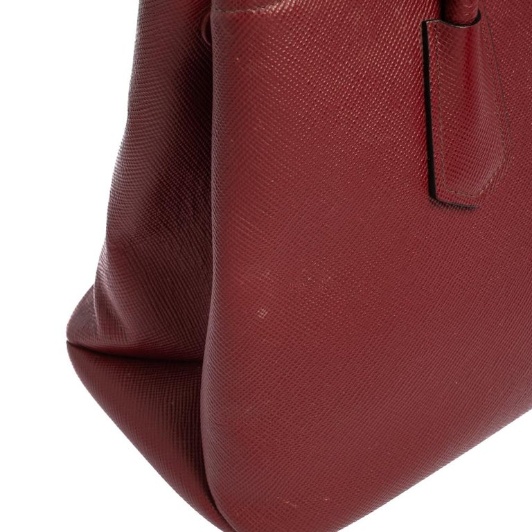 Prada Dark Red Saffiano Cuir Leather Twin Tote For Sale 9
