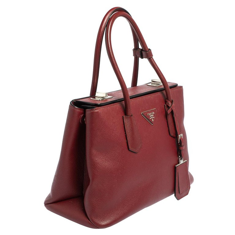 Brown Prada Dark Red Saffiano Cuir Leather Twin Tote For Sale