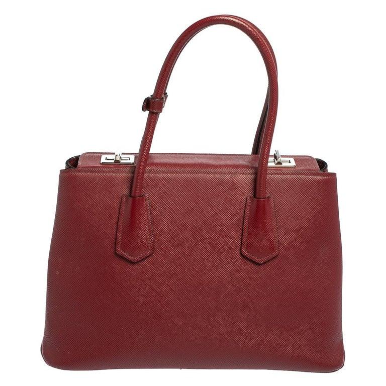 Prada Dark Red Saffiano Cuir Leather Twin Tote In Good Condition For Sale In Dubai, Al Qouz 2