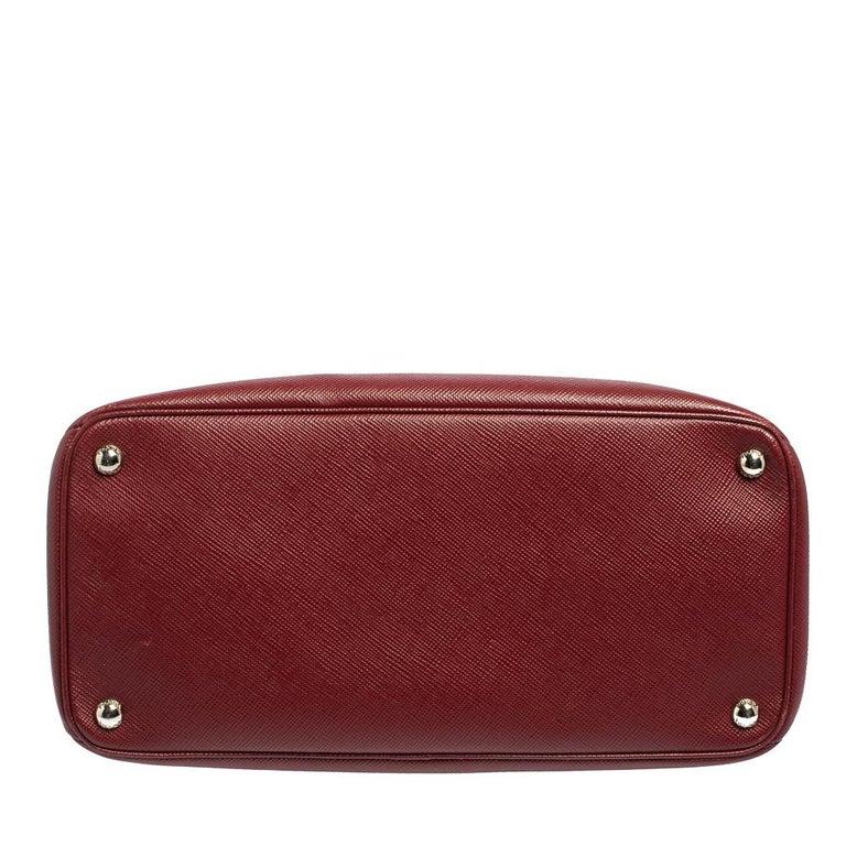 Women's Prada Dark Red Saffiano Cuir Leather Twin Tote For Sale