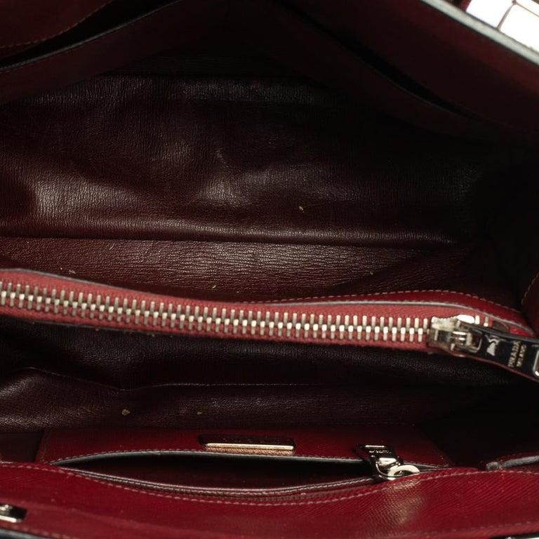 Prada Dark Red Saffiano Cuir Leather Twin Tote For Sale 1
