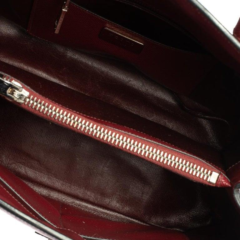 Prada Dark Red Saffiano Cuir Leather Twin Tote For Sale 2