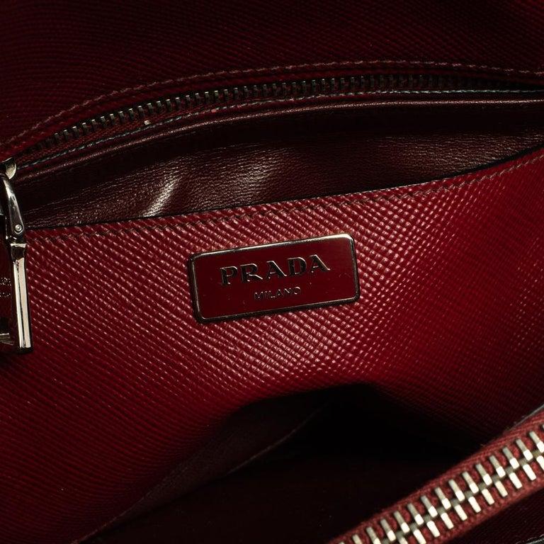 Prada Dark Red Saffiano Cuir Leather Twin Tote For Sale 4