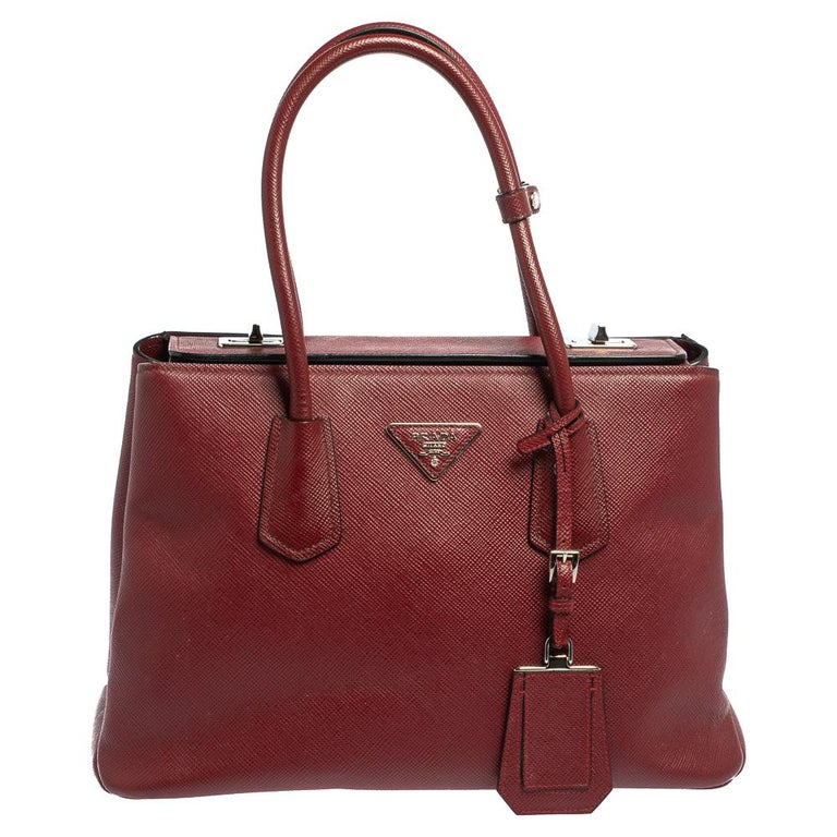 Prada Dark Red Saffiano Cuir Leather Twin Tote For Sale