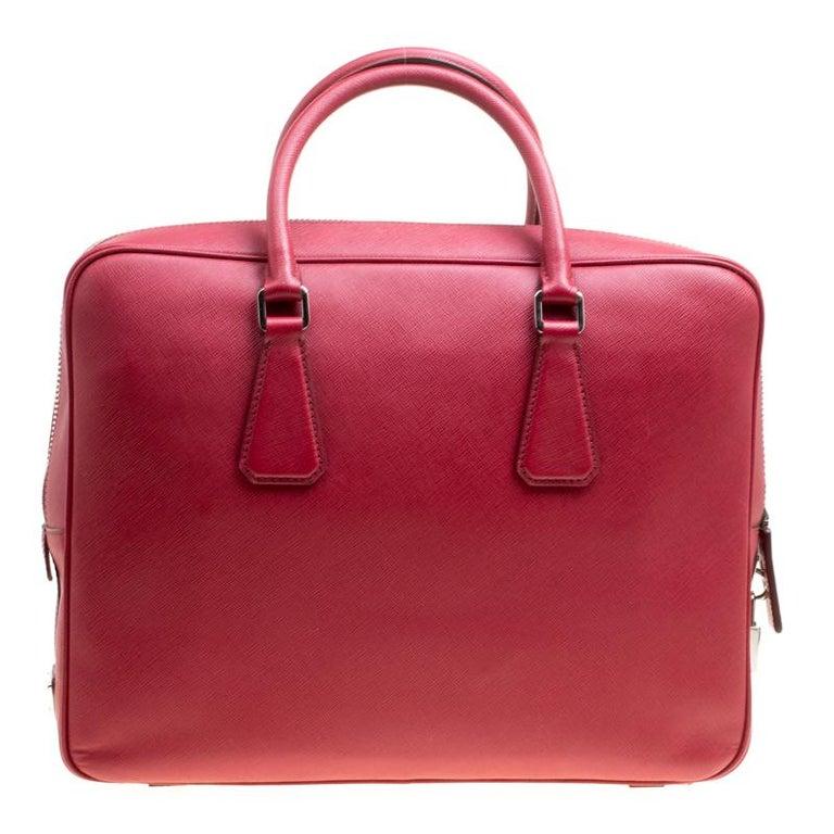 a517e4ddab21 Prada Dark Red Saffiano Leather Travel Briefcase For Sale at 1stdibs