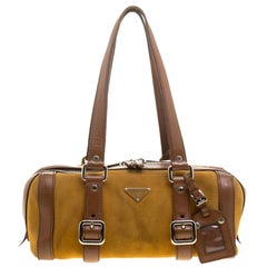 Prada dark Yellow/Brown Suede and Leather Satchel