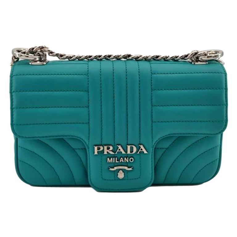 PRADA Diagramme Shoulder bag in Blue Leather