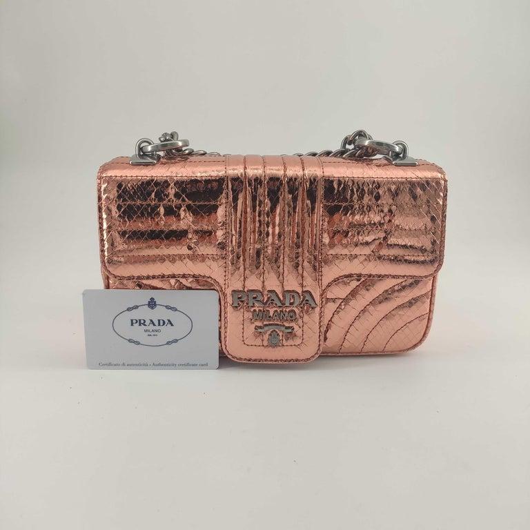 PRADA Diagramme Shoulder bag in Pink Leather For Sale 8