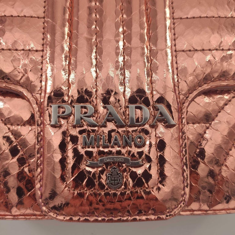 Women's PRADA Diagramme Shoulder bag in Pink Leather For Sale