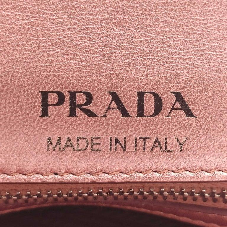 PRADA Diagramme Shoulder bag in Pink Leather For Sale 2