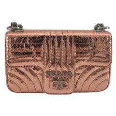 PRADA Diagramme Shoulder bag in Pink Leather