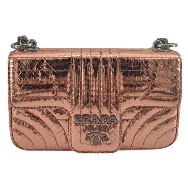 PRADA Diagramme Shoulder bag in Pink Leather For Sale