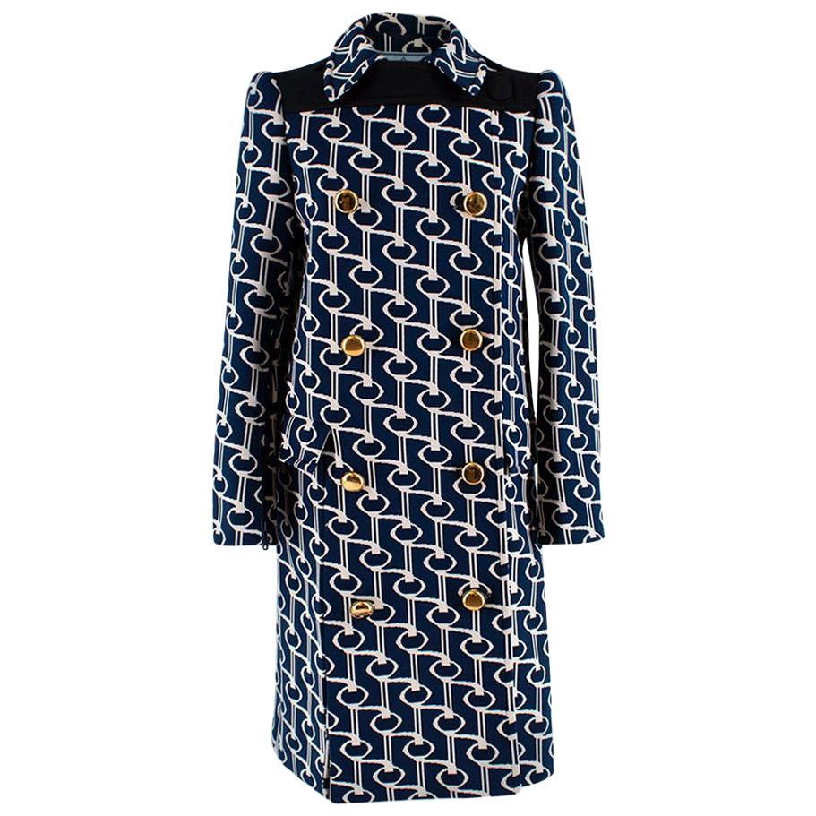 Prada Double-breasted cape key-jacquard coat - Size US 4