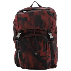Prada Double Buckle Backpack Printed Tessuto Medium
