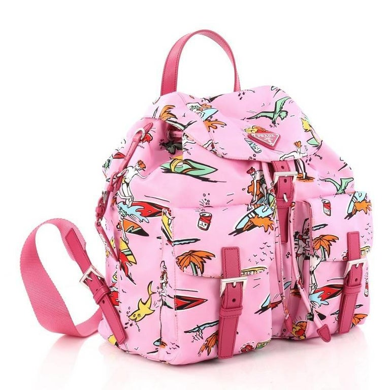 33561bafd780 Pink Prada Double Front Pocket Backpack Printed Tessuto Medium For Sale