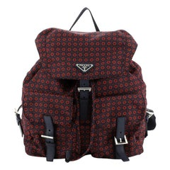 Prada Double Front Pocket Backpack Printed Tessuto Medium
