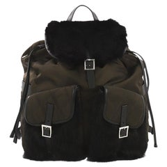 Prada Double Front Pocket Backpack Tessuto With Fur Medium
