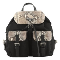 Prada Double Front Pocket Backpack Tessuto with Python Medium