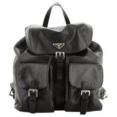 Prada Double Pocket Drawstring Backpack Soft Calfskin Medium