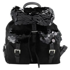 Prada  Double Pocket Drawstring Backpack Tessuto with Paillettes