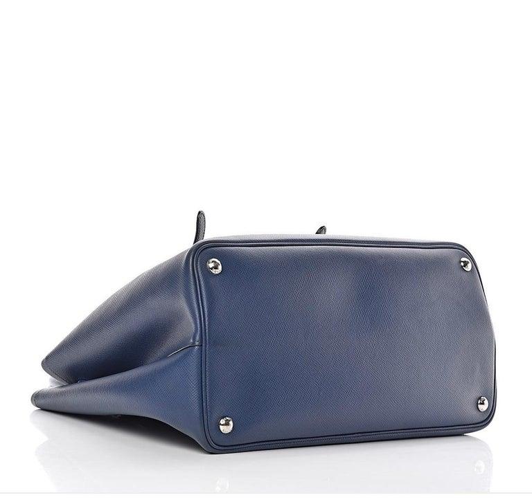 Purple Prada Double Saffiano Cuir Bluette Medium  Leather Tote, Brand New For Sale