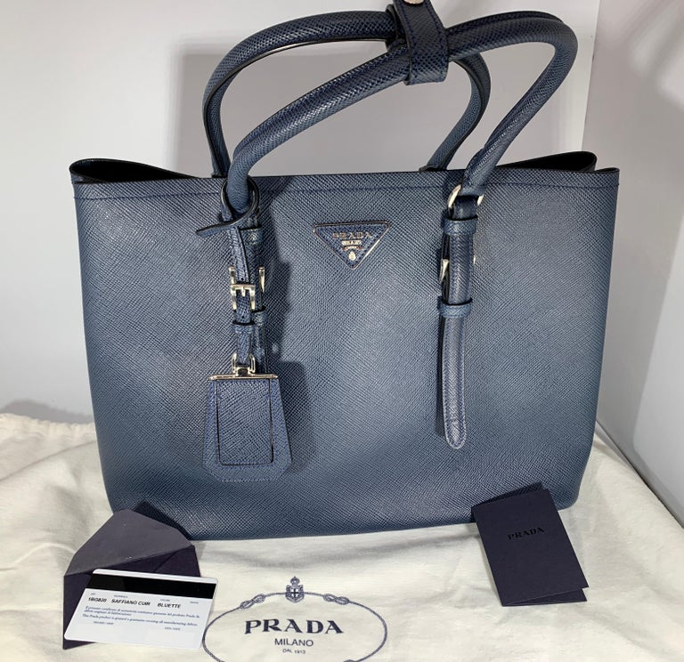 Prada Double Saffiano Cuir Bluette Medium  Leather Tote, Brand New In New Condition For Sale In Scarsdale, NY