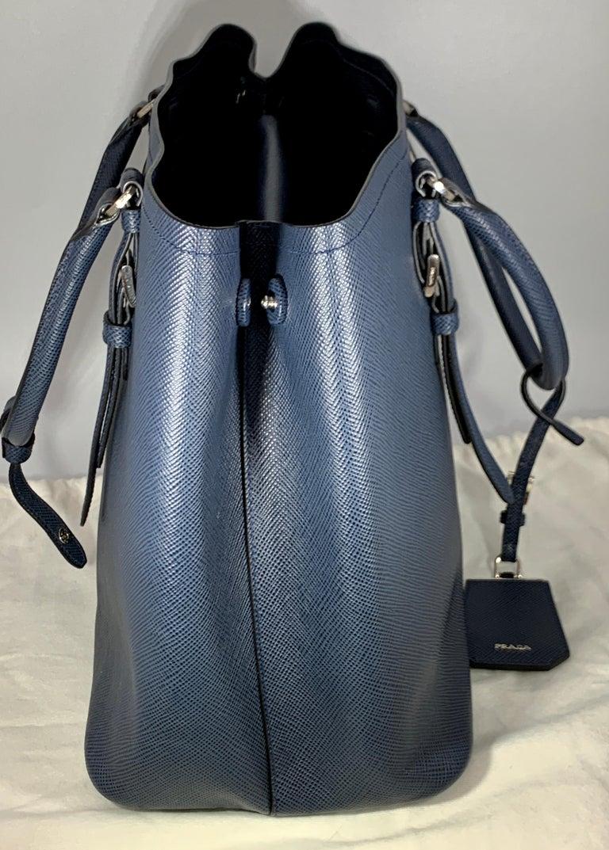 Women's Prada Double Saffiano Cuir Bluette Medium  Leather Tote, Brand New For Sale