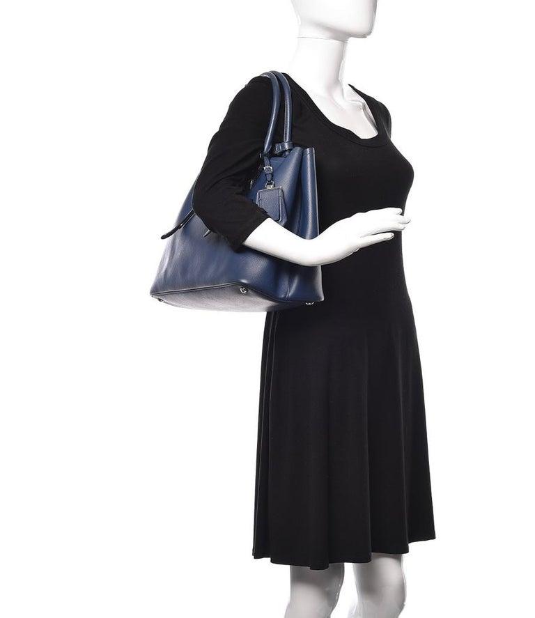 Prada Double Saffiano Cuir Bluette Medium  Leather Tote, Brand New For Sale 2