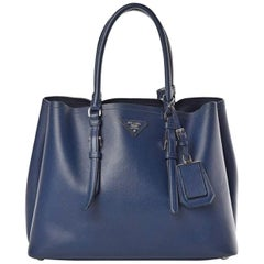 Prada Double Saffiano Cuir Bluette Medium  Leather Tote, Brand New