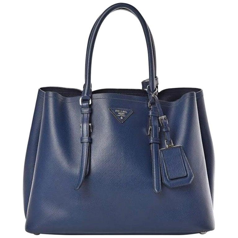 Prada Double Saffiano Cuir Bluette Medium  Leather Tote, Brand New For Sale