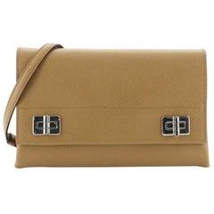 Prada Double Turn Lock Chain Shoulder Bag Saffiano Leather Small