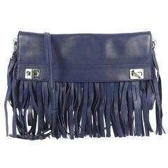 Prada Double Turn Lock Flap Bag Leather with Fringe Medium,