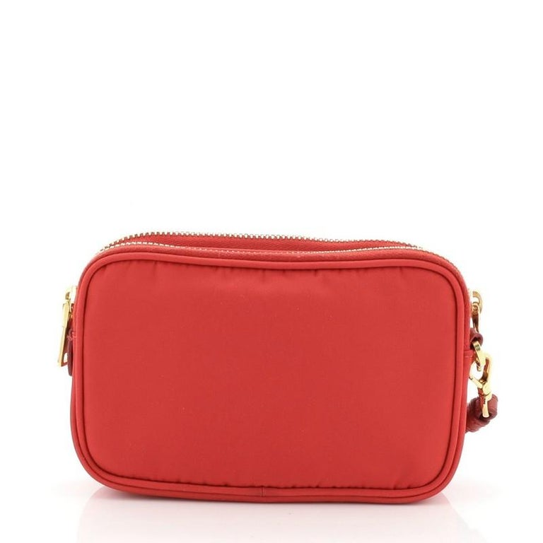 Prada Double Zip Camera Bag Tessuto Mini In Good Condition For Sale In New York, NY