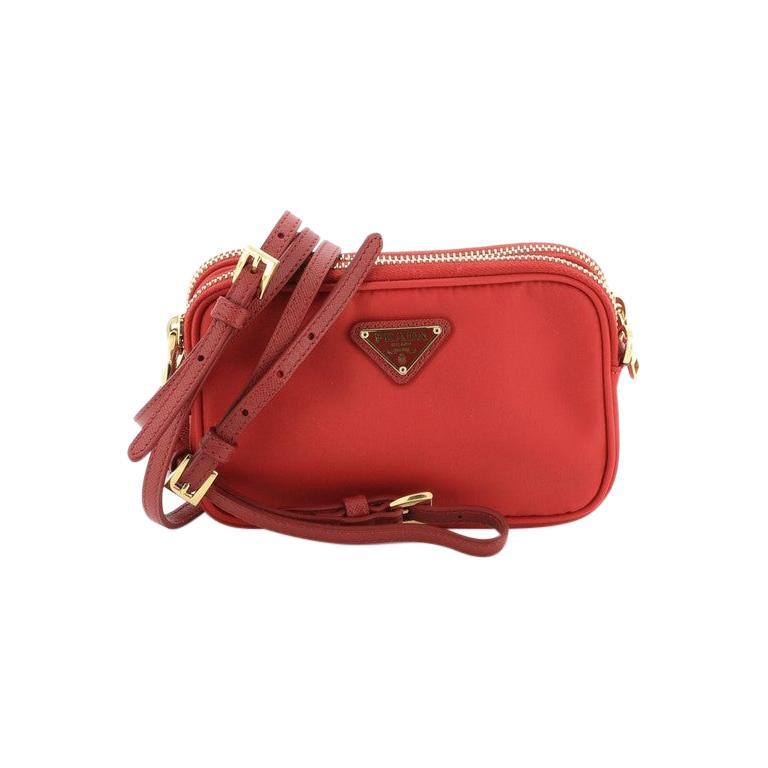 Prada Double Zip Camera Bag Tessuto Mini For Sale