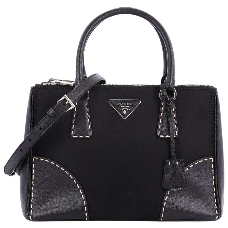 974e11de Prada Double Zip Convertible Tote Stitched Tessuto and Saffiano Small