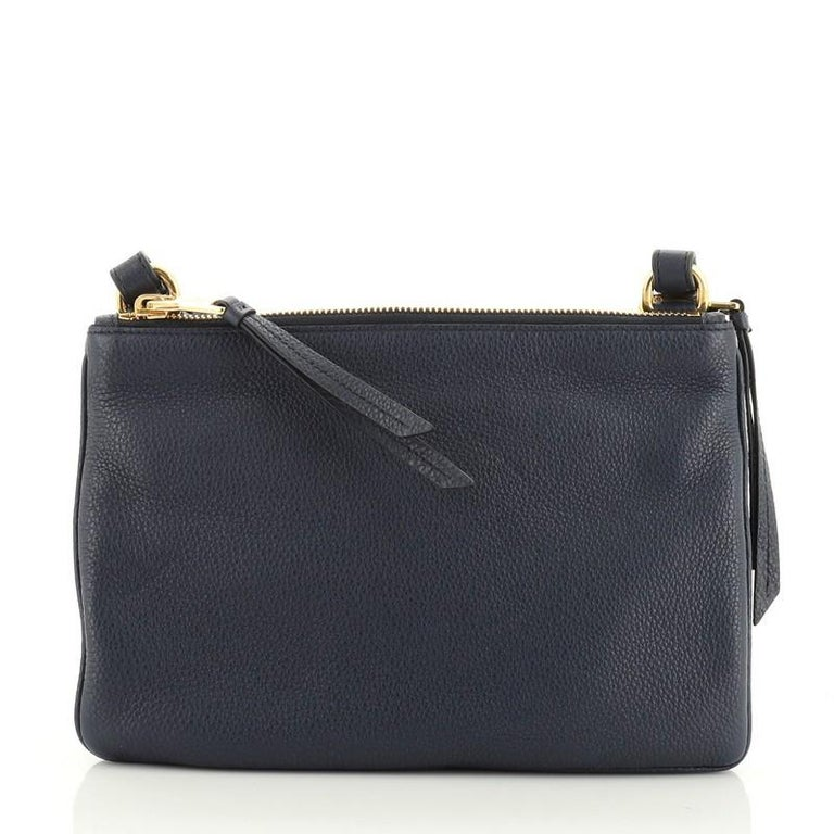 Prada Double Zip Crossbody Bag Vitello Daino Small In Good Condition For Sale In New York, NY