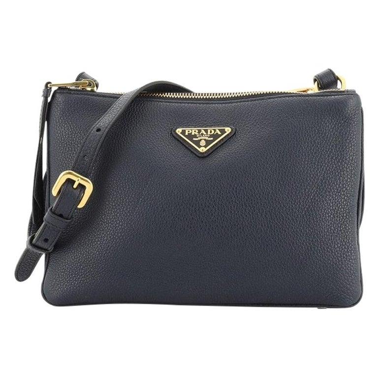 Prada Double Zip Crossbody Bag Vitello Daino Small For Sale