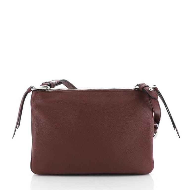 Brown Prada Double Zip Crossbody Bag Vitello Phenix Small For Sale