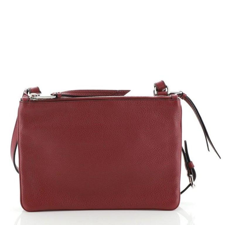 Prada Double Zip Crossbody Bag Vitello Phenix Small In Good Condition For Sale In New York, NY
