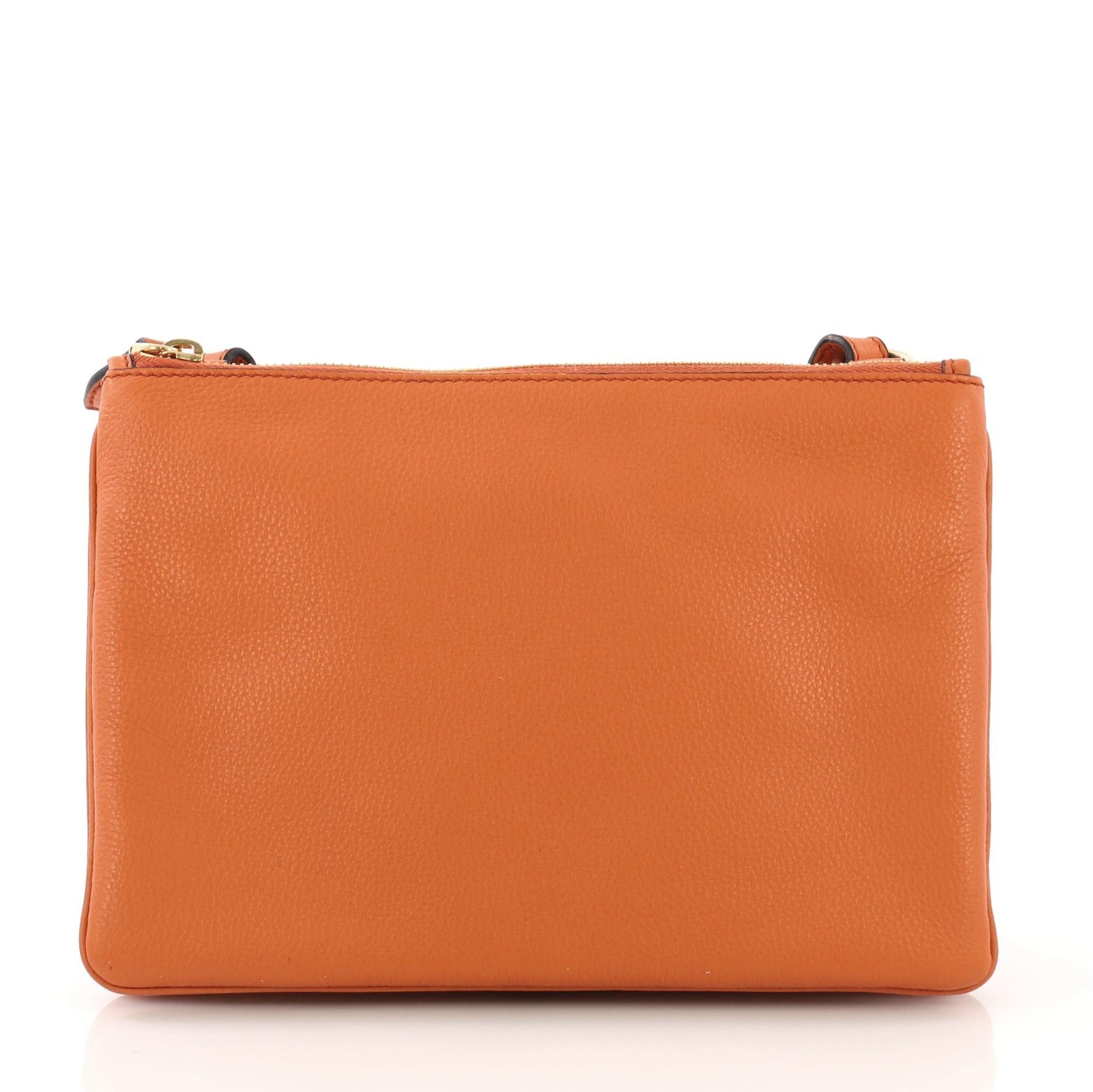 4da5a5a367d3 Prada Double Zip Crossbody Bag Vitello Phenix Small For Sale at 1stdibs