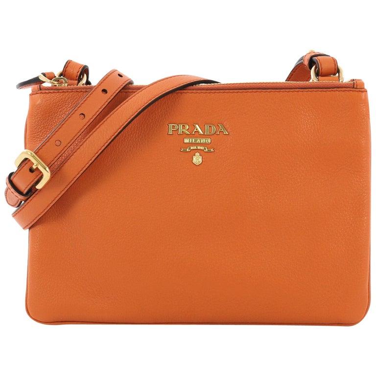 9757bfa21eb728 Prada Double Zip Crossbody Bag Vitello Phenix Small For Sale at 1stdibs
