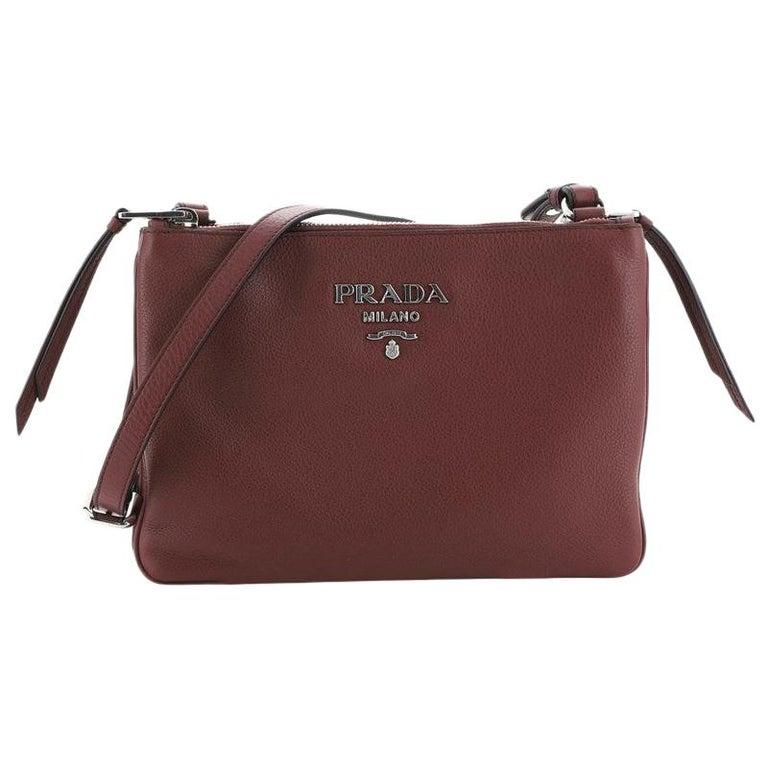 Prada Double Zip Crossbody Bag Vitello Phenix Small For Sale