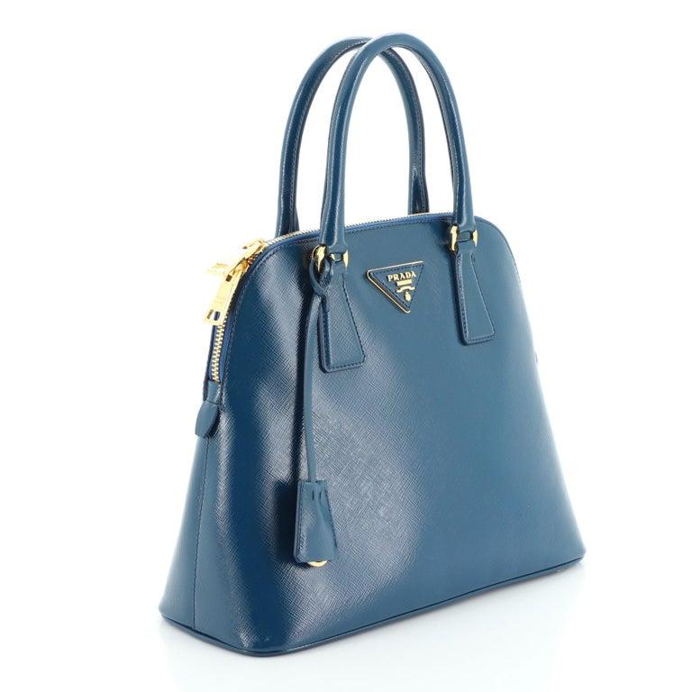 Prada Double Zip Lux Tote Saffiano Leather Mini In Good Condition For Sale In New York, NY