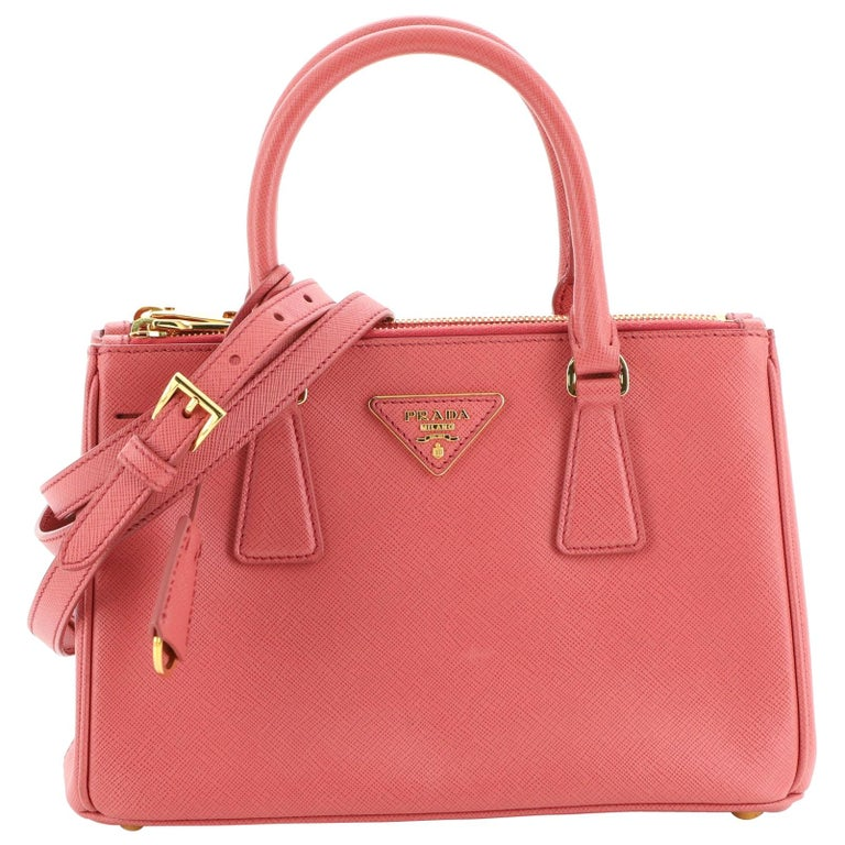 Prada Double Zip Lux Tote Saffiano Leather Mini For Sale