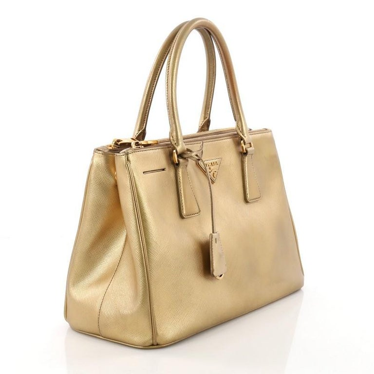 Brown Prada Double Zip Lux Tote Saffiano Leather Small For Sale