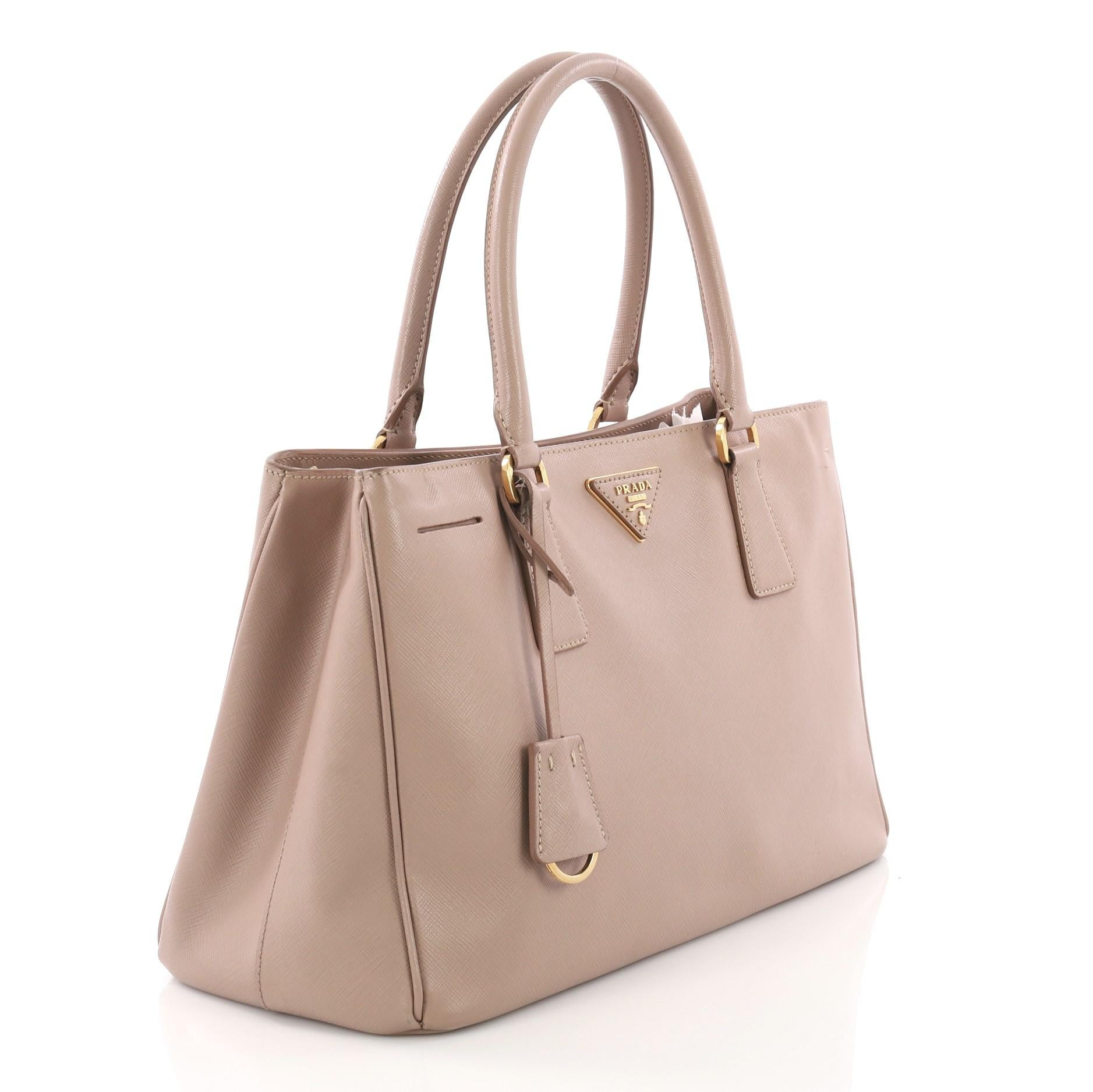 29086762bed8 new zealand brown prada double zip lux tote saffiano leather small for sale  24be1 f1541