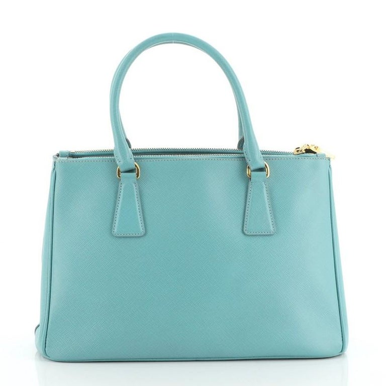 Blue Prada Double Zip Lux Tote Saffiano Leather Small For Sale